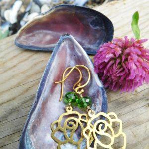 Øreringe med grøn swarowski ann wei design