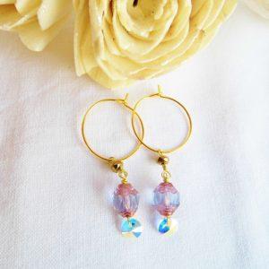 Forgyldte øreringe med 2 lilla perler og swarowski