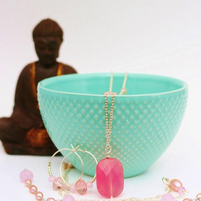 Smykkesæt med rosakvarts PASSION