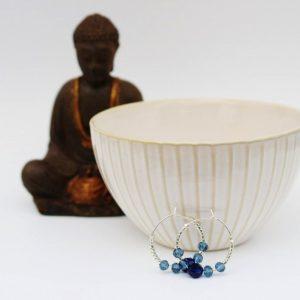 Chakra øreringe med indigo blå swarovski