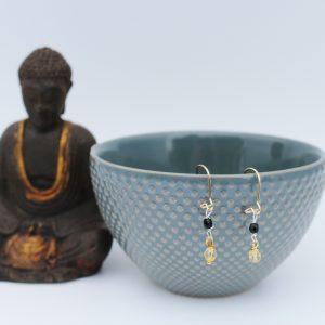 Øreringe med citrin og onyx