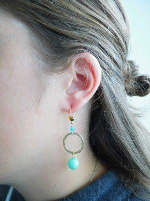 Øreringe med turkis jade
