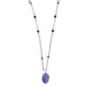 Halskæde med lyseblå agat