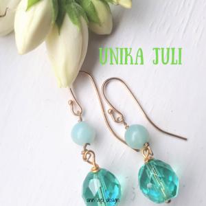 Unika øreringe Juli - øreringe med turkis krystal og agat