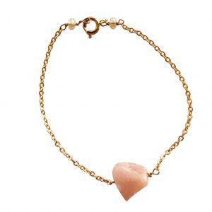 Armbånd med pink opal i kæde
