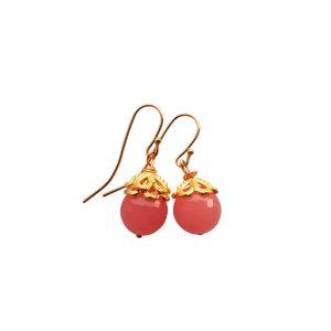 Øreringe med pink jade og cap - serie HAPPY