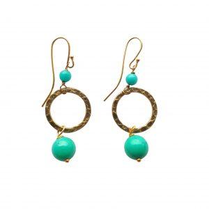 Øreringe med turkis jade og gylden ring - serie ARTIST
