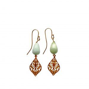 Øreringe med amazonit og gyldent blad