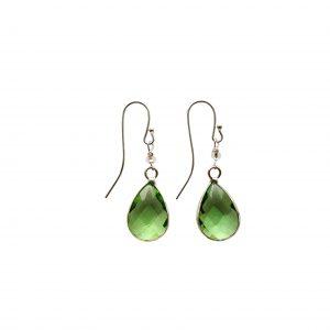 Øreringe med lysegrøn krystal
