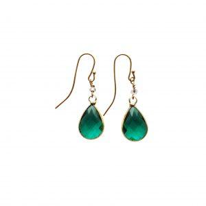 Øreringe med grøn krystal