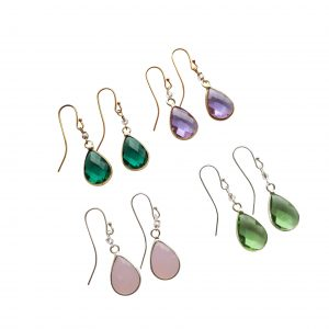 Øreringe med grøn krystal - serie SOUL