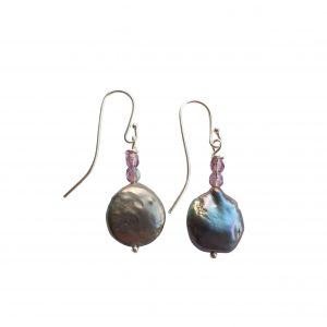 Øreringe blå keshi perler