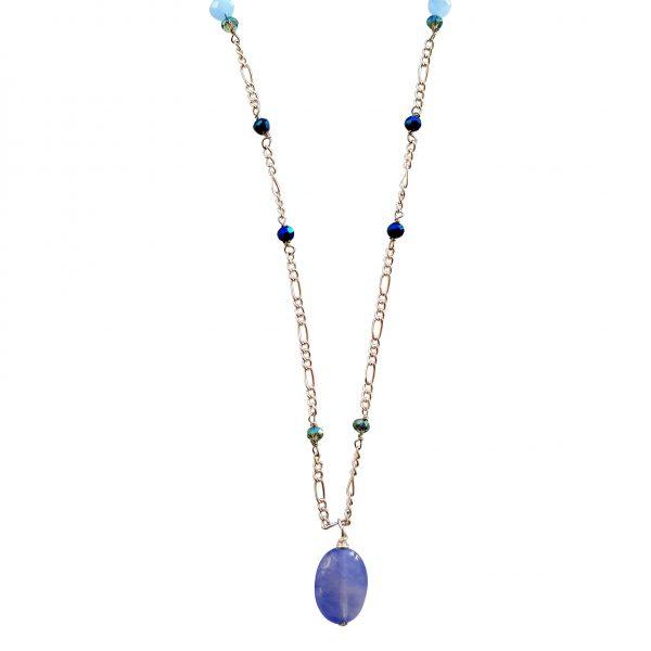 Halskæde med blå agat
