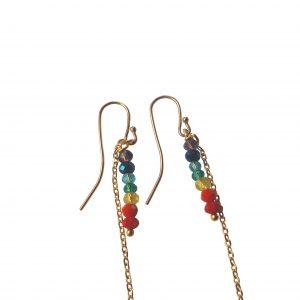 Chakra øreringe med 7 farver og kæde
