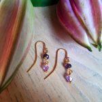 Små lilla boheme øreringe